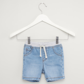 Solid Denim Shorts with Pocket Detail and Drawstring