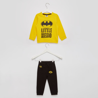 Batman Print Round Neck T-shirt with Cuffed Hem Joggers