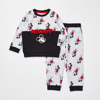 Mickey Mouse Print Long Sleeves Sweatshirt and Jog Pants Set