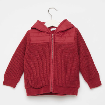 Textured Hooded Jacket with Front Zip Closure and Long Sleeves