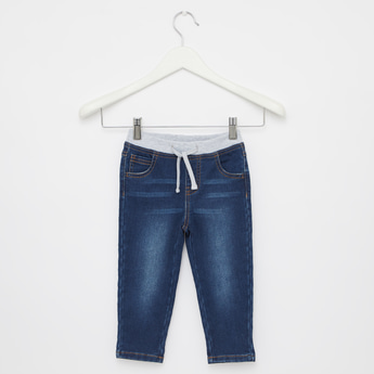 Full Length Jeans with Elasticated Ribbed Drawstring Waist