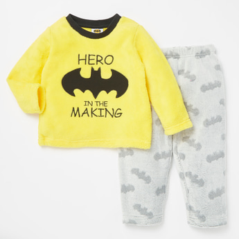 Batman Textured Long Sleeves T-shirt and Full Length Pyjama Set