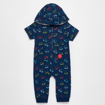 All-Over Car Print Romper with Hood and Zip Closure