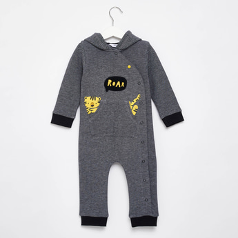 Tiger Print Romper with Hood and Snap Button Closure