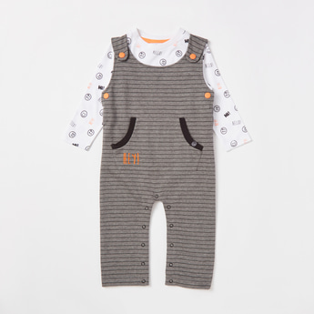 All-Over Print Long Sleeves T-shirt with Full Length Striped Dungarees