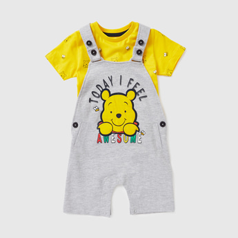 All-Over Winnie-the-Pooh Print T-shirt and Dungaree Set
