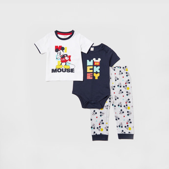 Mickey Mouse Print T-shirt with Pyjama and Bodysuit Set