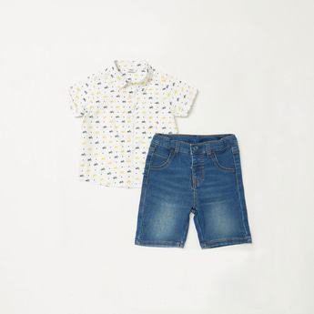 All-Over Print Short Sleeves Shirt with Denim Shorts Set