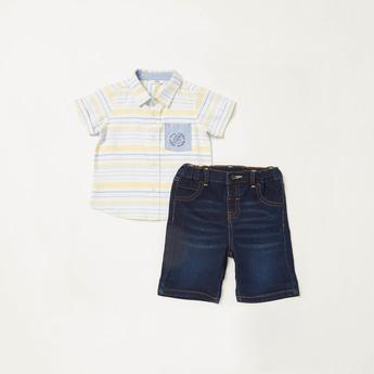 Striped Short Sleeves Shirt with Denim Shorts Set
