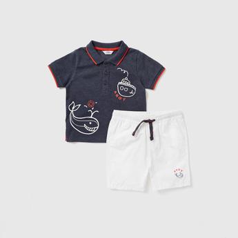 Printed Polo T-shirt and Solid Shorts Set
