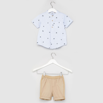 Printed Short Sleeves Shirt with Textured Shorts