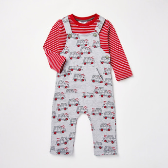 Car Print Dungaree and Long Sleeves Striped T-shirt Set