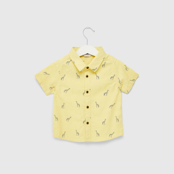 All-Over Graphic Print Shirt with Spread Collar and Short Sleeves