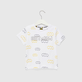 All Over Batman Print T-shirt with Round neck and Short Sleeves