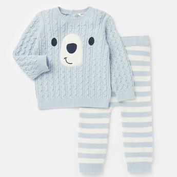 Textured Round Neck Sweater and Jog Pants Set