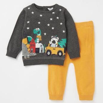 Printed Sweater and Full Length Jog Pants Set