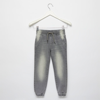 Solid Denim Jog Pants with Pockets and Drawstring