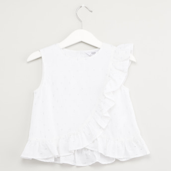 Printed Sleeveless Top with Round Neck and Frill Detail