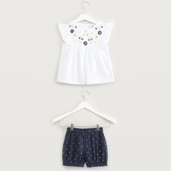 Floral Embroidery Top with Dots Print Shorts