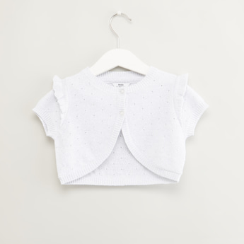 Textured Bolero with Ruffle Detail and Short Sleeves