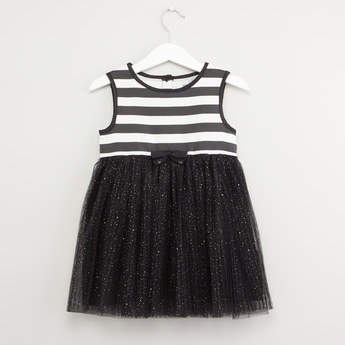 Striped Sleeveless Dress with Round Neck