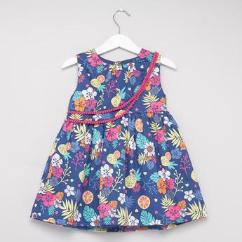 Floral Print A-line Sleeveless Dress