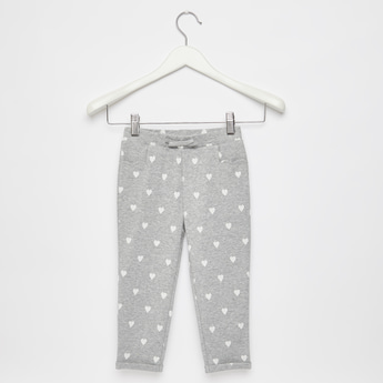 Full Length Heart Print Pants with Elasticated Waistband and Bow Applique