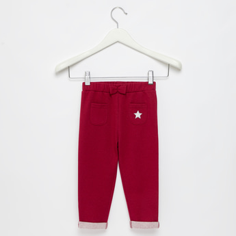 Solid Pants with Pockets and Bow Applique