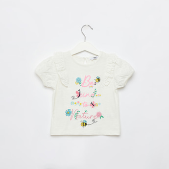 Embroidered T-shirt with Ruffle Detail and Short Sleeves