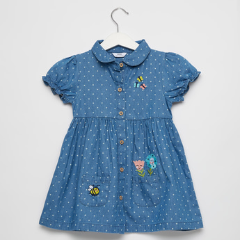 Polka Dot Print Denim Dress with Spread Collar and Cap Sleeves