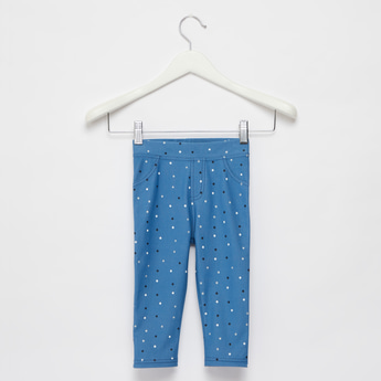 Star Print Jeggings with Elasticised Waistband