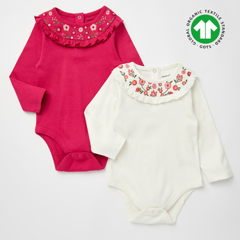 Set of 2 - Embroidered GOTS Organic Cotton Bodysuit with Long Sleeves