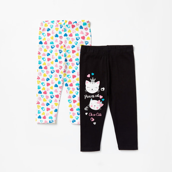 Pack of 2 - Printed Leggings with Elasticised Waistband