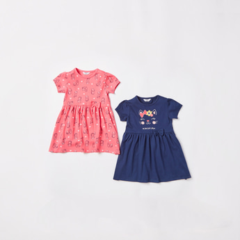 Set of 2 - Cat Print Round Neck Dress with Short Sleeves