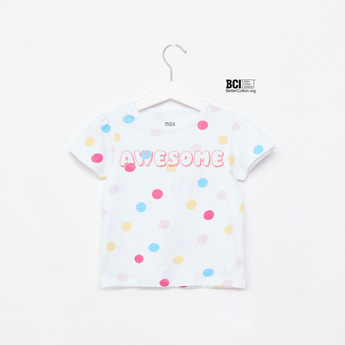 Polka Dot Print Round Neck T-shirt with Cap Sleeves