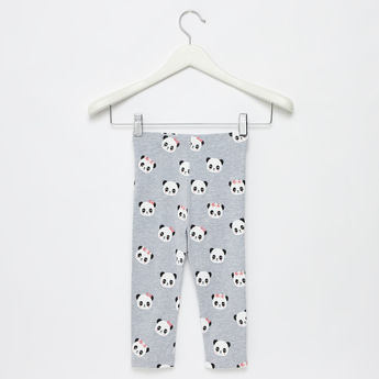 All-Over Panda Print Leggings with Elasticised Waistband