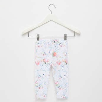 Floral Print Ankle Length Leggings with Elasticised Waistband