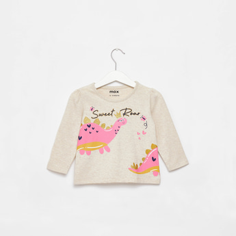 Dinosaur Print Round Neck Embellished T-shirt with Long Sleeves