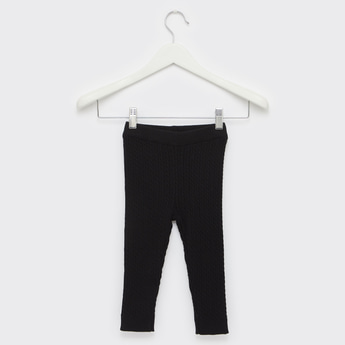 Textured Leggings with Elasticated Waistband