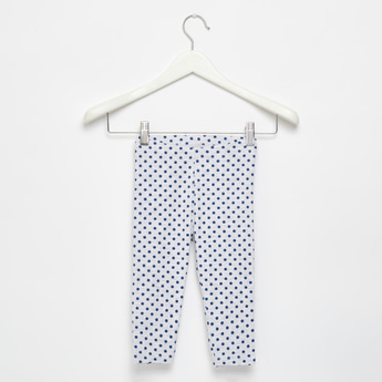 Full Length Polka Dots Print Leggings with Elasticated Waistband