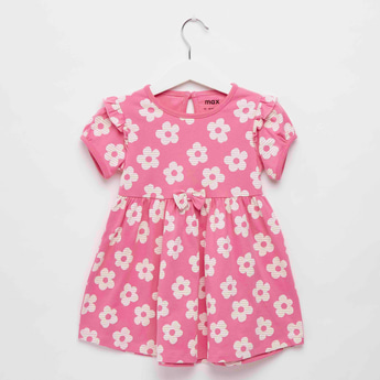 Floral Print Knee Length Dress with Round Neck and Short Sleeves