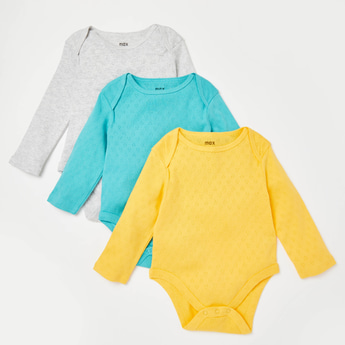 Pack of 3 - Solid Pointelle Bodysuit with Long Sleeves and Round Neck
