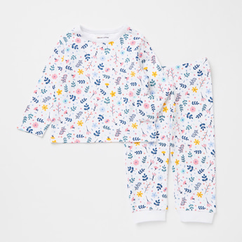 All-Over Floral Print Long Sleeves T-shirt and Full Length Pyjama Set