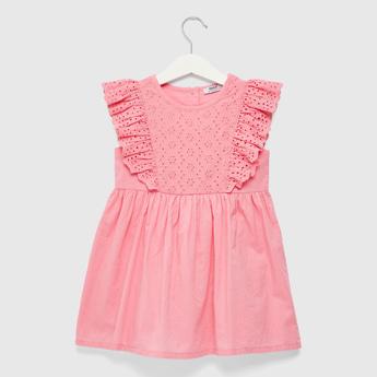 Schiffli Detail Sleeveless Dress with Round Neck and Button Closure