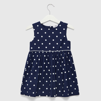 All-Over Polka Dot Print Sleeveless Dress with Round Neck