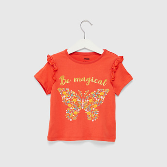 Butterfly Print T-shirt with Short Sleeves and Ruffle Detail