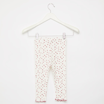 Polka Dots Print Ribbed Leggings with Elasticised Waistband