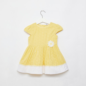 Schiffli Detail Dress with Cap Sleeves and Daisy Applique