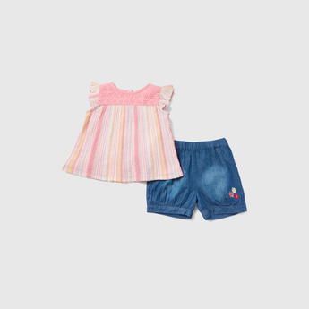 Striped Cap Sleeves Top with Embroidered Detail Shorts Set