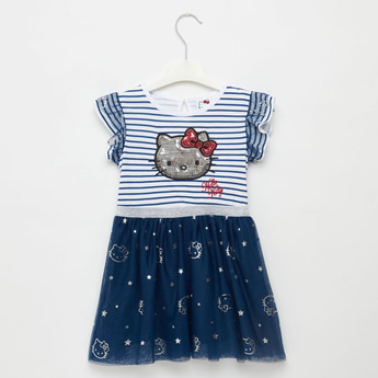 Hello Kitty Sequin Embellished Knee Length Dress with Cap Sleeves